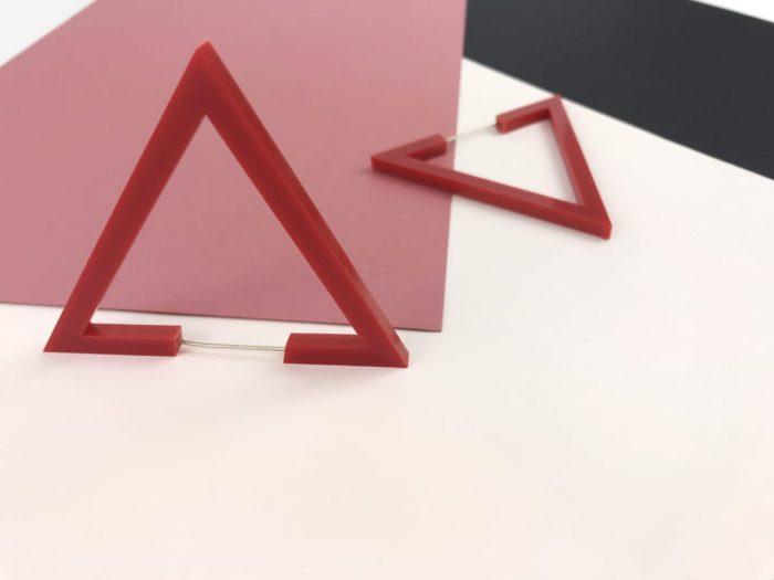 acrylic design triangle earrings