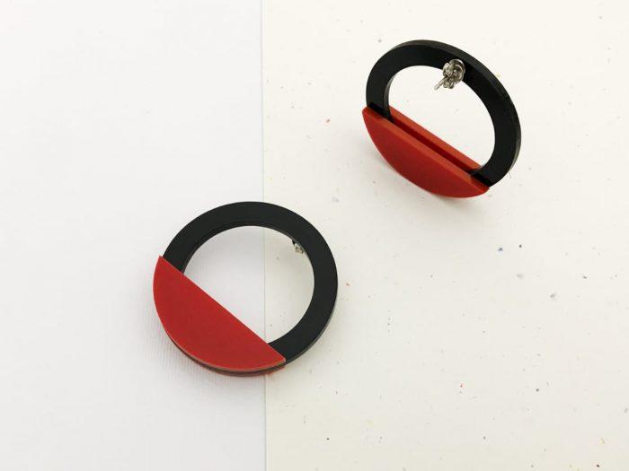 red acrylic earrings by plexi shock