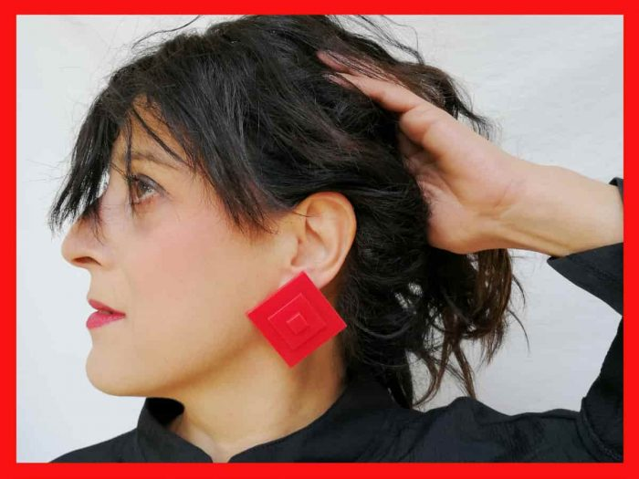 acrylic red stud earrings