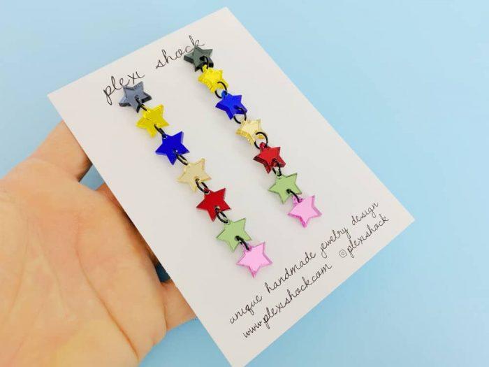 long star chain acrylic earrings