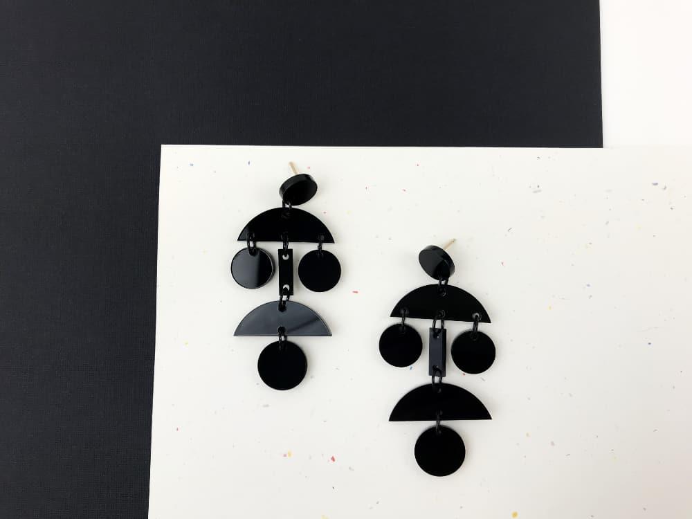 black plexiglass dangle earrings