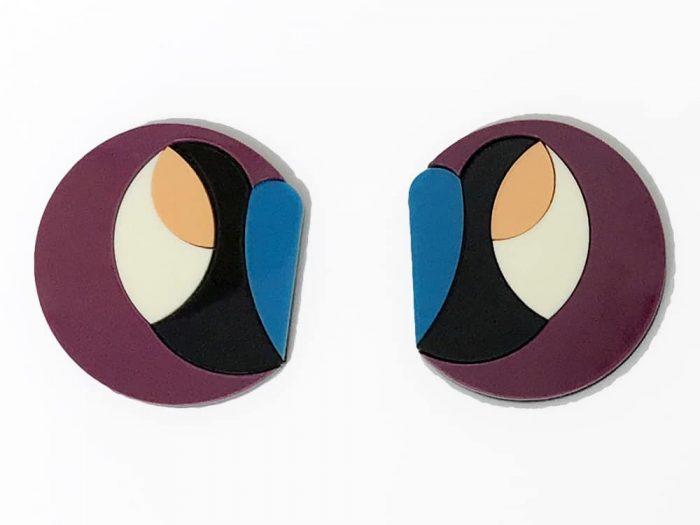 orecchini acrilico design astratto