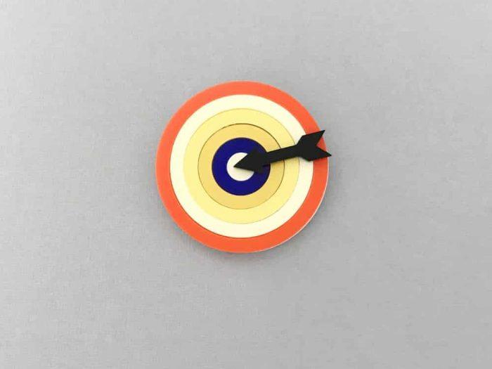 orange target acrylic brooch