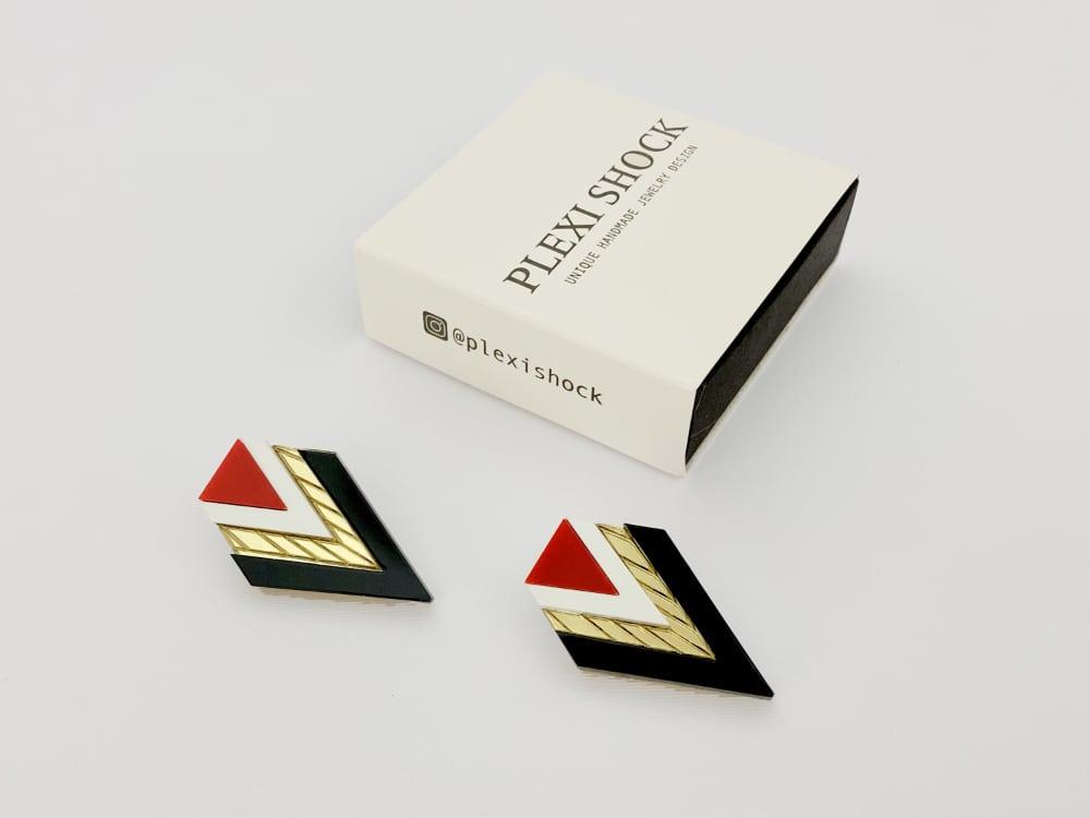 geometric red art jewelry earrings