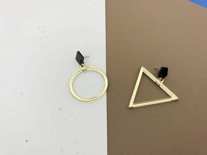 Asymmetric Mirrored Hoop Triangle Gold Earrings