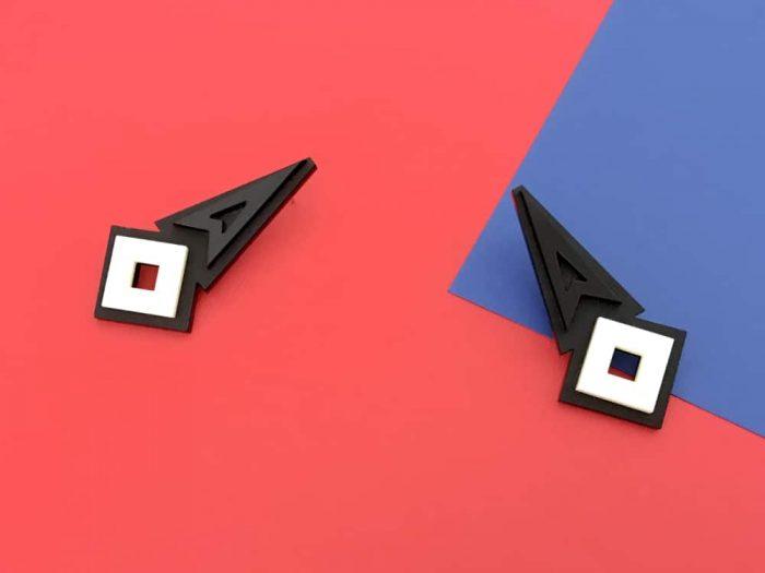 acrylic black statement stud earrings