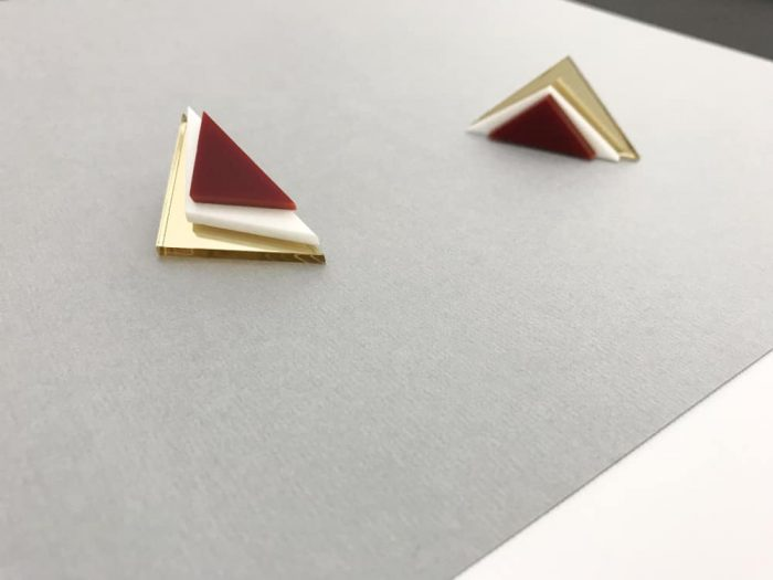 handmade architectural triangle earrings