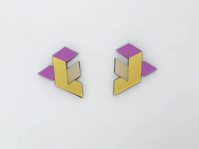 geometric design plexiglass earrings