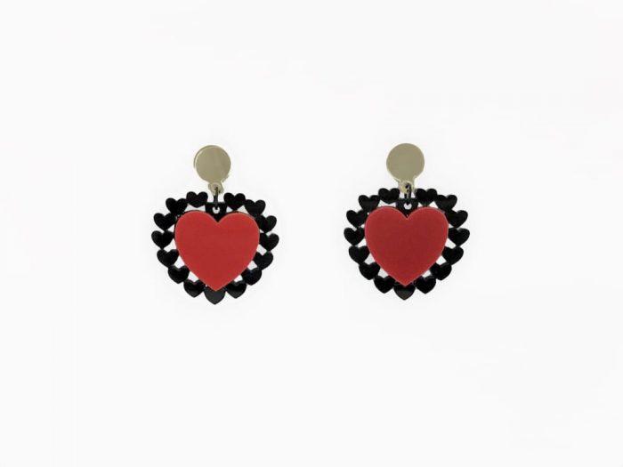 heart plexiglass red earrings