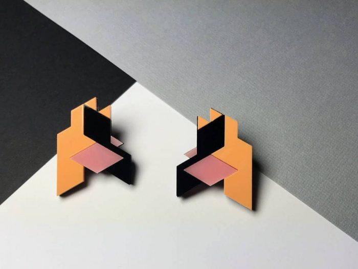 original design isometric earrings