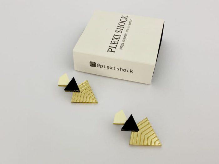 pyramid engraved earrings by plexi shock