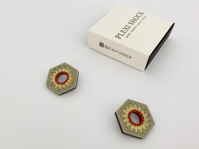 grey hexagonal earrings