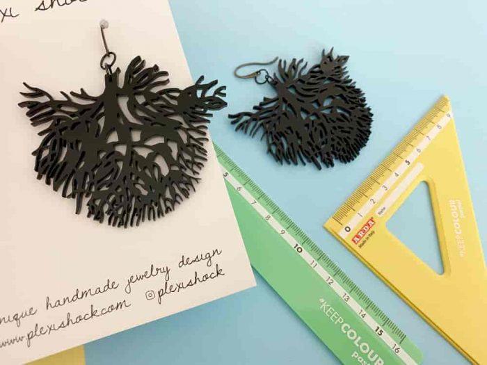 acrylic aquatic coral earrings