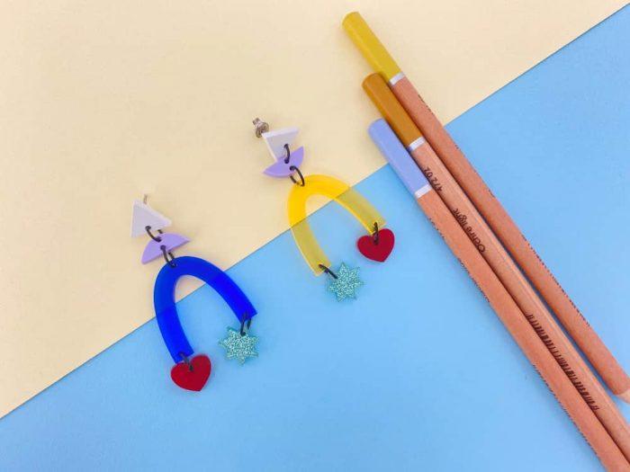 asymmetric acrylic earrings by plexi shock italian design