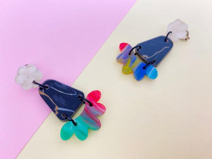colorful geometric earrings by plexi shock italian jewelry designs